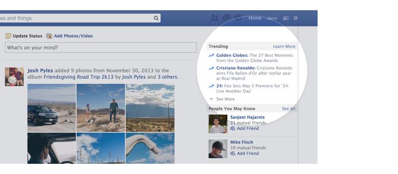 Sujets chauds présents sur Facebook