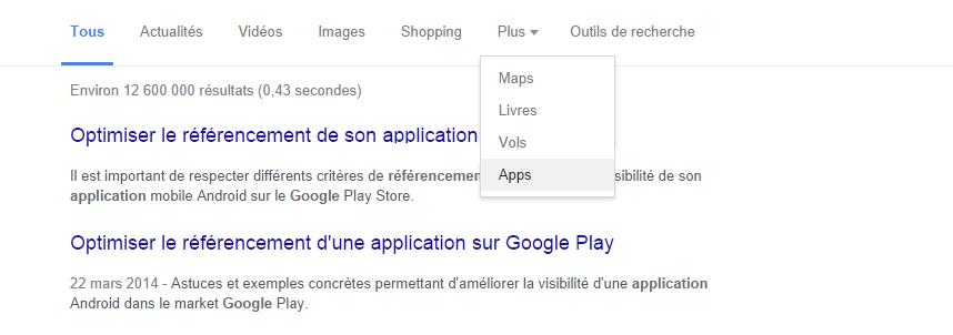 L'onglet app sur Google