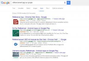 Présentation de la section app sur Google