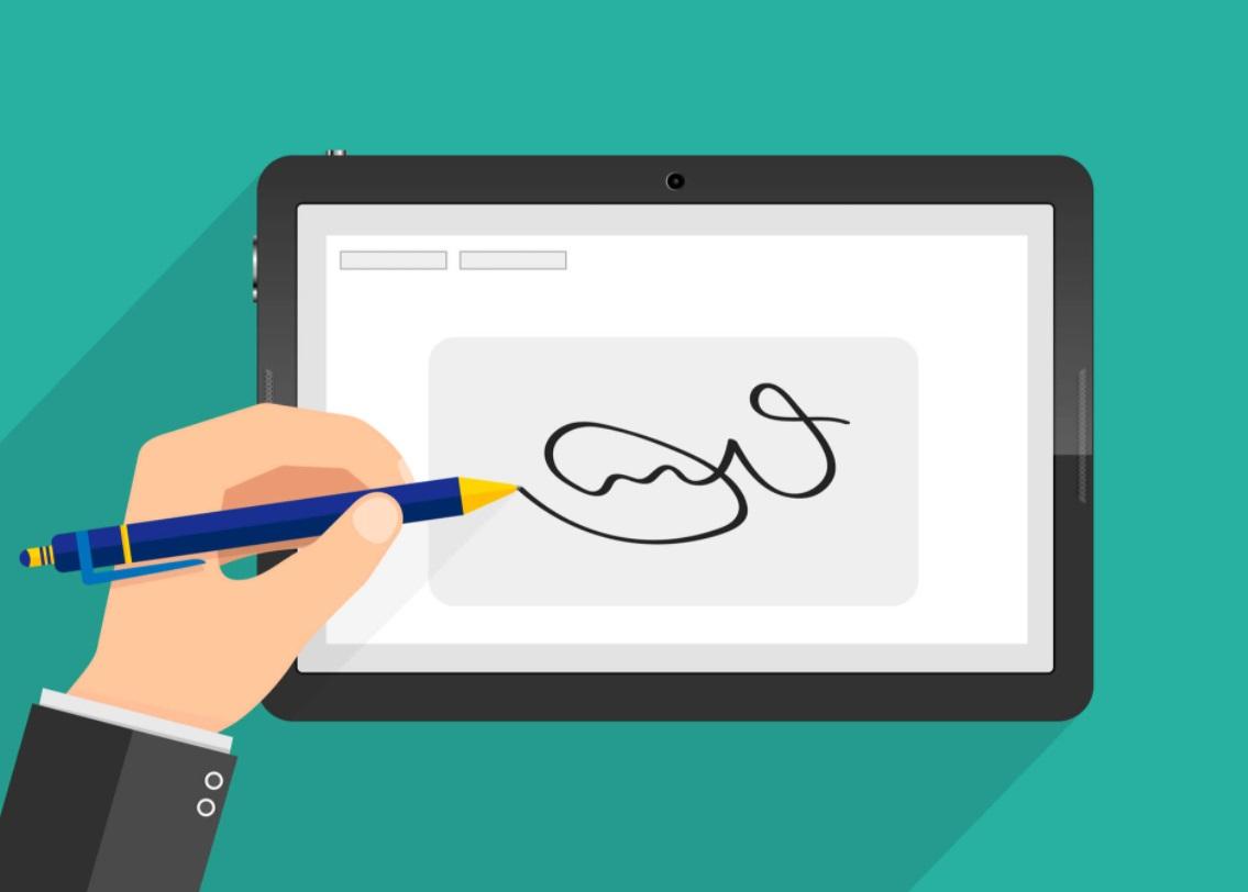 Une signature électronique sur une tablette