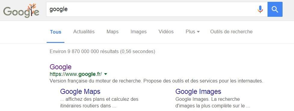 La recherche Google sur le moteur